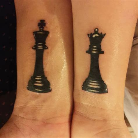 tattoo couple echec chess piece tattoo matching tattoo queen and king