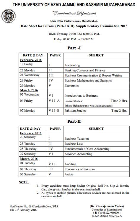 supplementary b a date sheet 2015 the of ajk date sheets 2016 b llb ba bsc