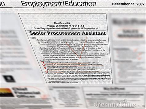 newspaper job section jobs employment section in newspaper royalty free stock