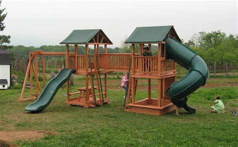 double slide swing set wooden playsets shippensburg pa by air hill lawn furniture