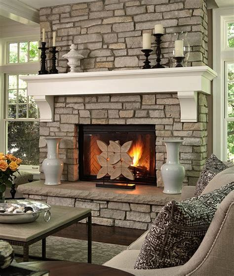 Ideas : Stone Fireplace With Beautiful Mantel Decorating