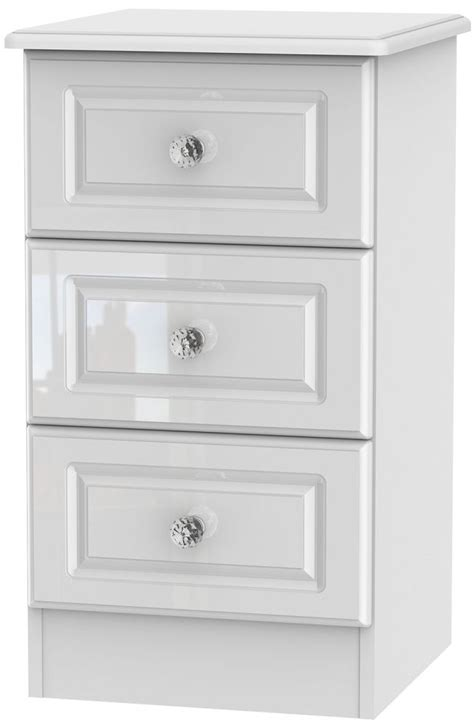 Locker Drawers by Balmoral Bedside Cabinet High Gloss 3 Drawer Bedside Cabinet