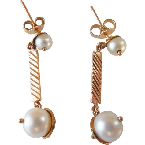 vintage 14k pearl drop earrings from albie on ruby