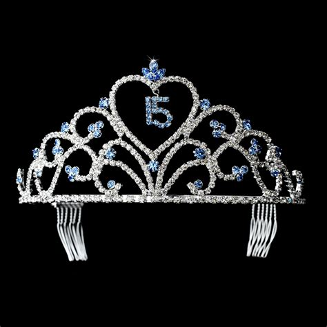 Crown 4 In 1 By Mithashop sweet 15 tiara silver light blue quinceanera supplies