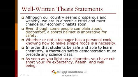 theses and dissertations exles of thesis statements