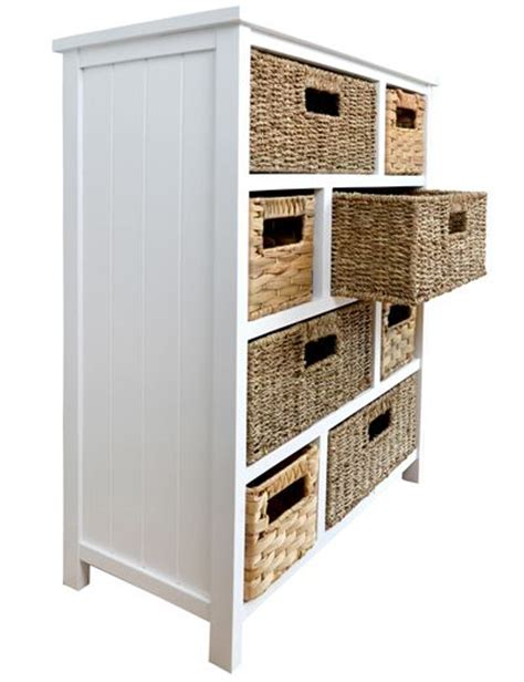 enhanced homes white cabinet with 8 storage baskets