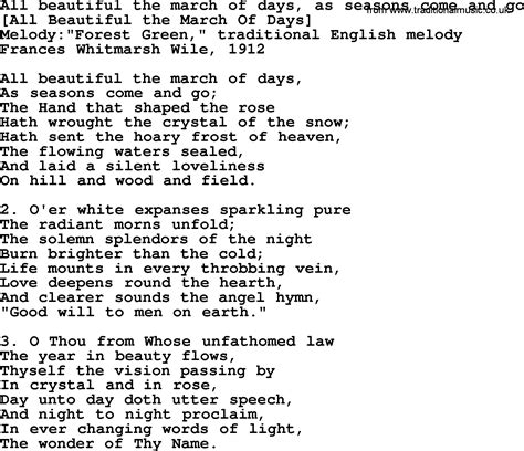 song in american song lyrics for all beautiful the march of