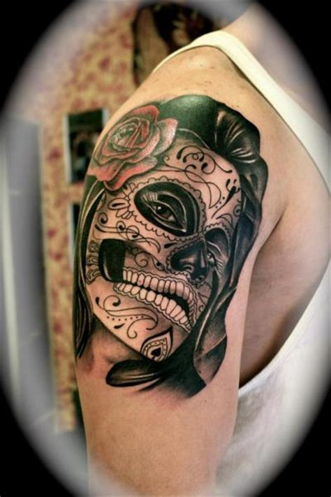 silver needle tattoo shoulder mexican skull by silver needle