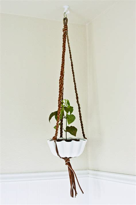 Plant Holder - diy braided leather hanging plant holder diy in pdx