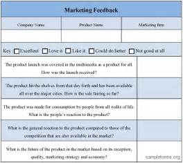 product feedback form template marketing feedback form sle marketing feedback form