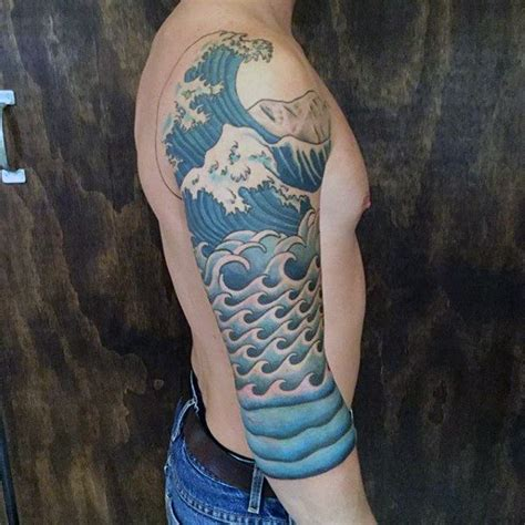 water tattoo sleeve designs guys water waves half sleeve ideas tattoooo