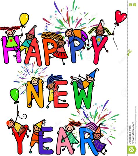 new year song child happy new year stock illustration image of colorful