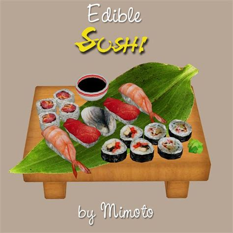 sims 4 food cc edible sushi by mimoto black berry sims sims 3