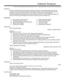 Machinist Resume Sample Machinist Cv Example For Production Livecareer