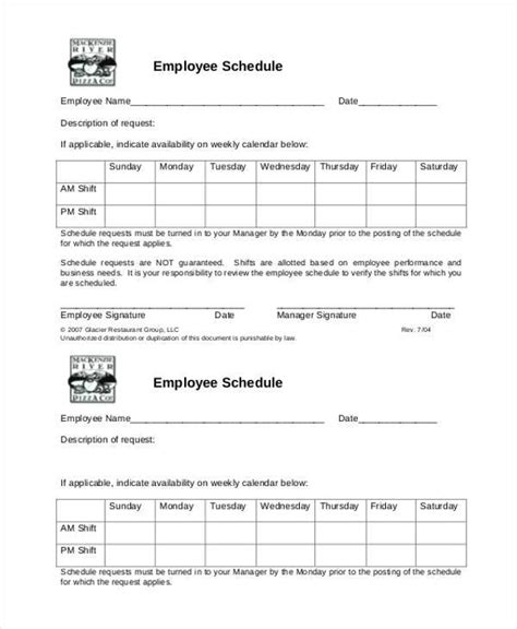 Sle Employee Availability Forms 9 Free Documents In Word Pdf Employee Availability Template