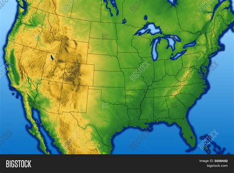 usa terrain map usa map terrain image photo bigstock