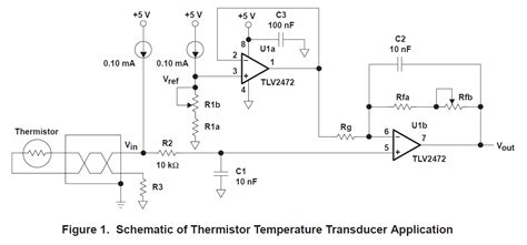 ntc thermistor circuit design thermistor circuit design based on reference sloa052 and sboa097 temperature sensors forum