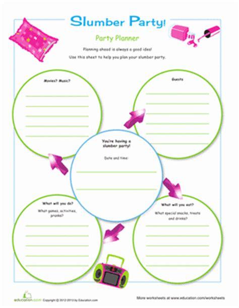 Slumber Party Planner   Worksheet   Education.com