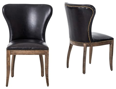 Leather Wingback Dining Chair Richmond Black Leather Wingback Dining Chair Dining Chairs By Zin Home