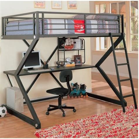 full size metal bunk style loft bed with desk affordable