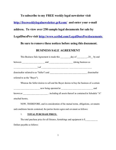 sale of business agreement template sle business sale agreement