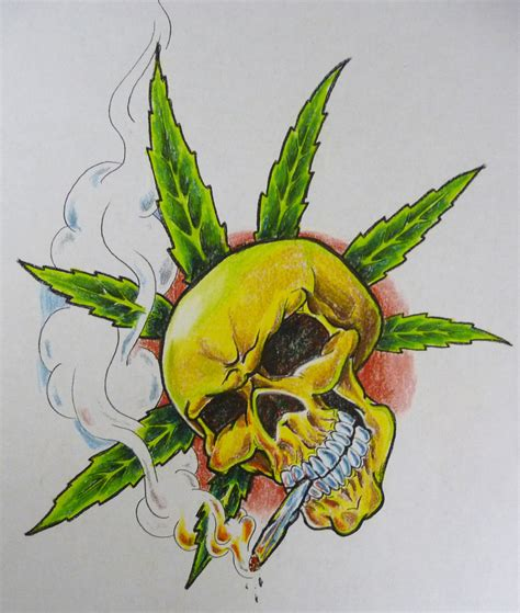 skull pot leaf tattoo designs pot skull flash by hoviemon on deviantart