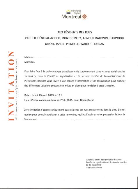 Exemple De Lettre D Invitation Canada Modele Lettre Invitation Reunion Publique Document