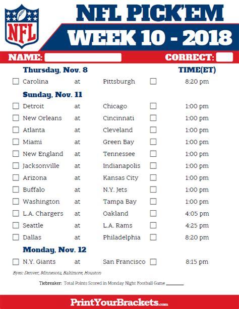 printable nfl schedule 2017 week football pick em pool weekly printable sheet