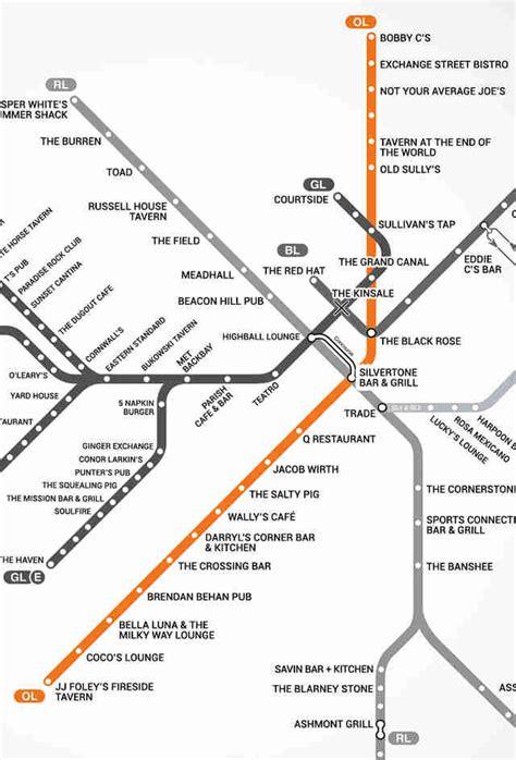 map of boston bars boston s map of bars near the t mbta bar map