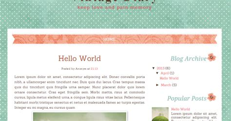 vintage diary free blog template ipietoon cute blog design