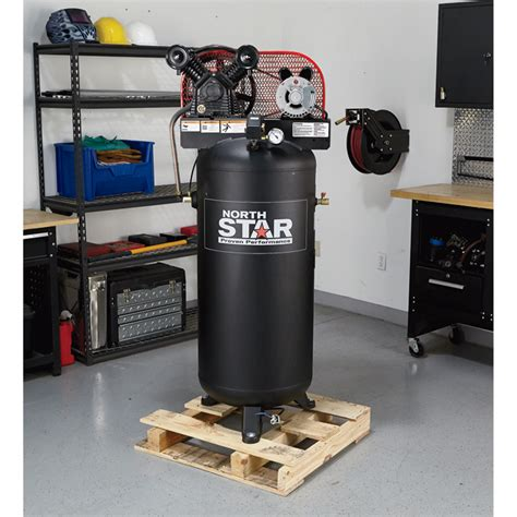 free shipping northstar belt drive stationary air compressor 3 hp 60 gallon vertical tank