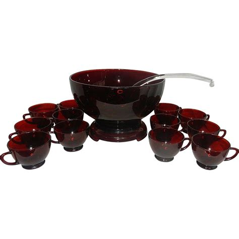 vintage mid century ls vintage mid century anchor hocking royal ruby punch bowl