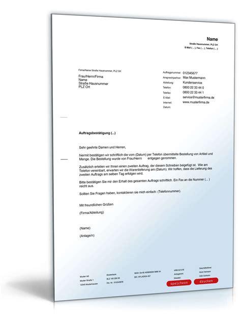 Musterbriefe Geschaeftsbriefe Best 228 Tigung Telefonischer Auftrag Vorlage Zum