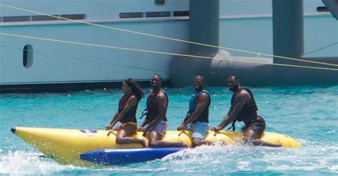 lebron james rides banana boat with dwyane wade chris - Banana Boat Ride Nyc