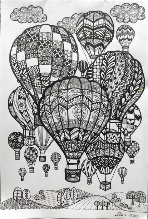 doodle booking air balloons doodle doodle and zentangle