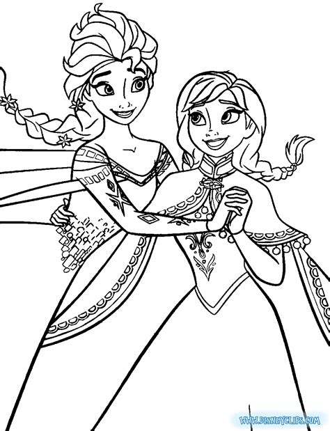 free coloring pages of elsa and anna