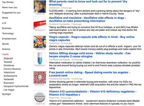 google news google news spammed with drug spam dating sites more