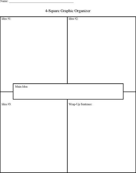graphic organiser templates four square graphic organizer template sle for