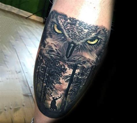 badass sleeve tattoo designs deer in woods with realistic owl badass mens leg calf