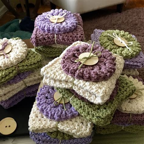 Knitted Wedding Gift Ideas by Pixie Heartstrings Washcloth Scrubby Gift Sets
