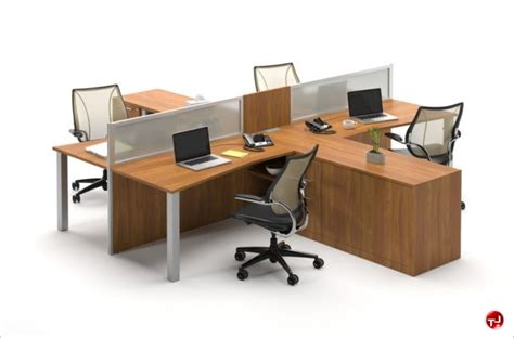 4 person office desk the office leader milo cluster of 4 person cubicle office