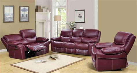 Leather Power Reclining Sofa Set Langdon Burgundy Genuine Leather Power Reclining Sofa Set