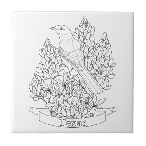 texas state bird flower coloring page tile zazzle