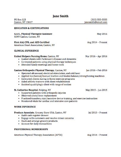 physical therapist resume template career services sle resumes