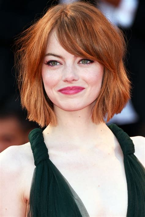 red hair on round face emma stone bob haircut