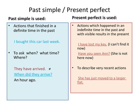 pattern of simple present perfect tense past simple vs present perfect