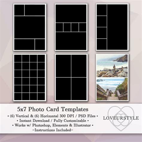 5x7 Photo Card Templates by 5x7 Photo Template Pack 12 Templates Photo Collage