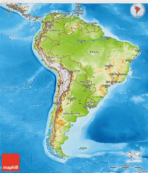 physical map of south america south america political physical 3d map of south america shaded relief outside