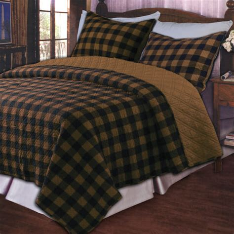 Brown Quilt Bedding by Western Plaid Brown Quilt Set