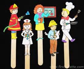 community helper stick puppets craft kids crafts